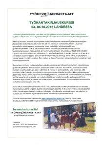 Työhevosharrastajien työkantakirjauskurssi 3.-4.10.2015 Lahdessa